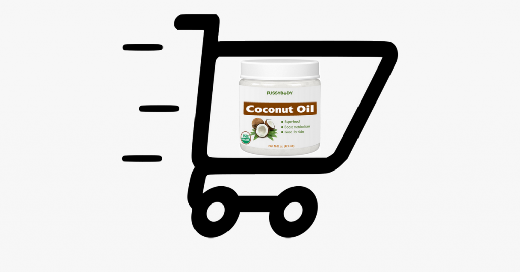Coconut oil in shopping cart