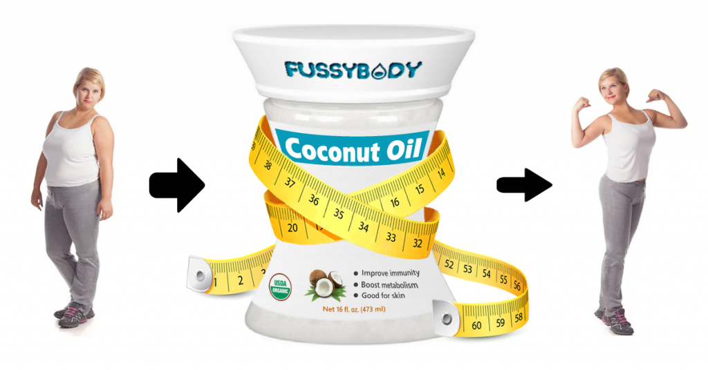 Beautiful fat woman loses weight after using FussyBody coconut oil surrounded with measuring tape