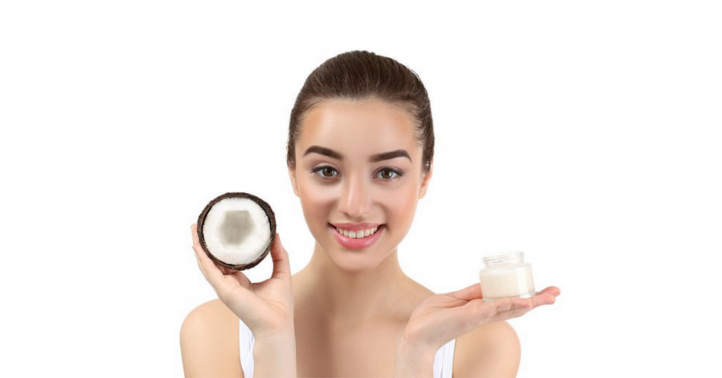 Girl showing how to use coconut oil for skin
