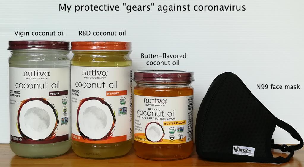 coconut oils plus face mask against novel coronavirus