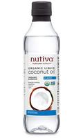 Nutiva organic liquid coconut oil in plastic bottle