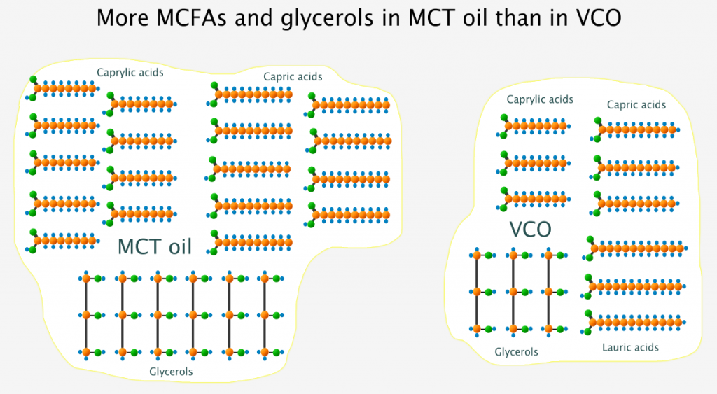 More MCFAs and glycerols in MCT oil than in virgin coconut oil