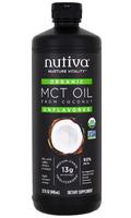 Nutiva organic MCT oil in black plastic bottle