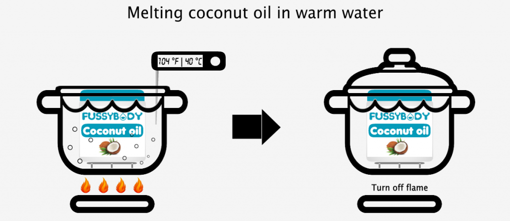 Melting coconut oil in warm water