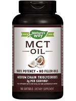 A bottle of Nature's Way MCT oil softgels