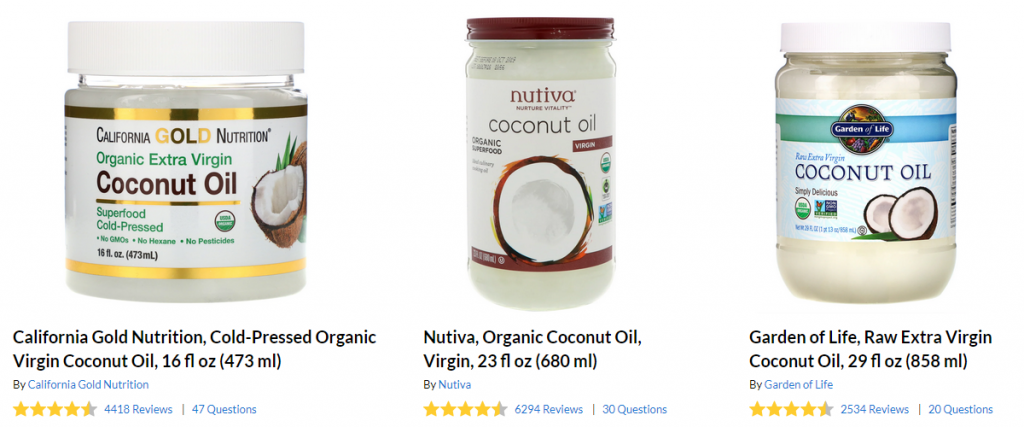 Popular brands of virgin coconut oil