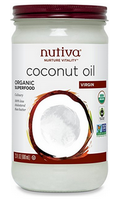 Nutiva organic virgin coconut oil in glass jar